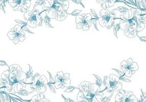 bordes florales de bosquejo azul
