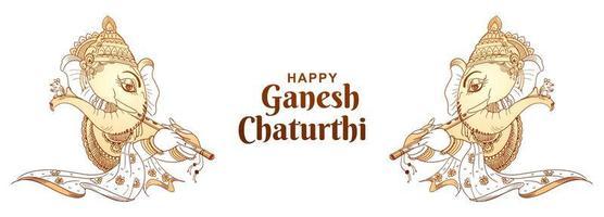 banner de festival indio de ganesh chaturthi de contorno monocrom