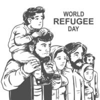 Hand drawn world refugee day design with family vector