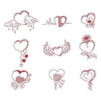 Hand drawn creative red hearts vector