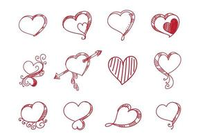 Set of different creative red hearts vector