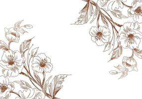 Artistic vintage sketch wedding flower corners vector