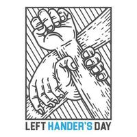 Left-handers day poster design with two hands