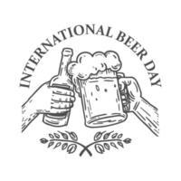emblema del día internacional de la cerveza para camiseta o póster