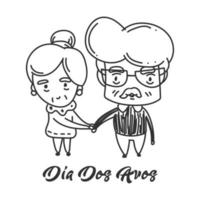 dia dos avos pareja tomados de la mano diseño
