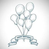 Hand drawn birthday balloon bouquet and banner