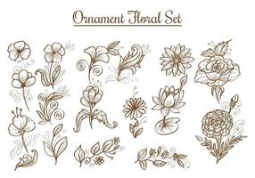 Hand drawn sketch flower set vector