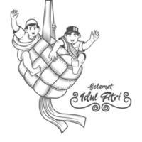 musulmanes celebrando el eid al fitr en ketupat