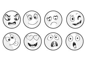 Hand drawn smileys vector