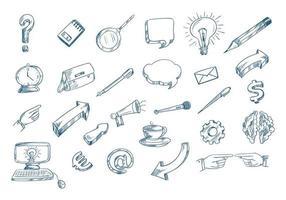 Technology pen sketch set vector