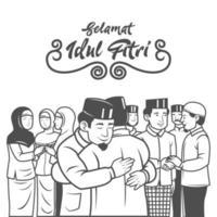 Muslim people celebrating Eid al fitr with hugs vector