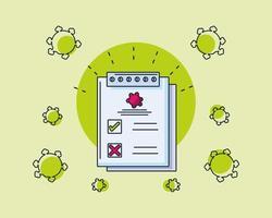 infografía con formulario de análisis de laboratorio médico y coronavirus.