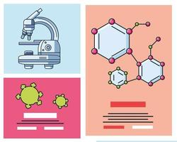 Infographic with laboratory microscope icons