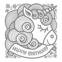 Lovely unicorn head with happy birthday banner vector
