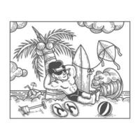 Man sunbathing on beach line drawing vector