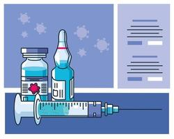 Infographic with ampoule and syringe icons vector