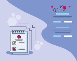 infografía con formulario de análisis de laboratorio médico e investigación de covid 19