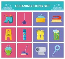Cleaning modern icons set vector