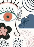 modelo de rosto e formas contemporâneas abstratas desenhadas à mão
