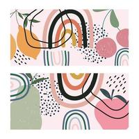 Fruits and hand-drawn contemporary shapes cards