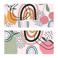 frutas e cartões de formas contemporâneas desenhados à mão