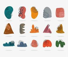 Hand drawn contemporary icons as abstract shapes
