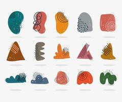 ícones contemporâneos desenhados à mão como formas abstratas