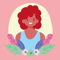 Portrait of a young person with flowers vector