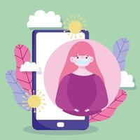 Young girl wearing a face mask with smartphone vector