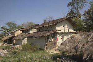 Casas tradicionales taru en Terai, Nepal