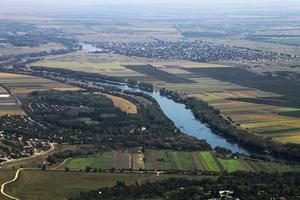 Aerial view of rural area and river