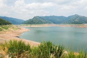 Río y la parte trasera de la montaña de la presa khundanprakanchon, nakhon nay
