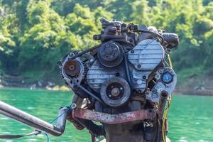 el motor del bote de cola larga foto