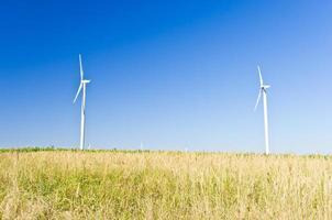 Modern windmills at flat land of Banat region