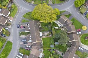 Leafy suburbs from a hot air balloon.