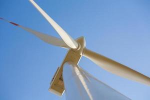 Wind turbine photographed at close range.