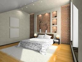 Vista de un dormitorio moderno con piso de madera y pared de ladrillo foto