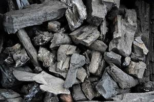 Close up pile of wooden charcoal.