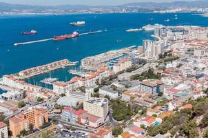 Vista aérea de la ciudad de Gibraltar.