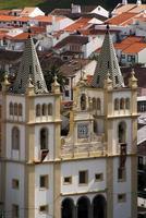 Portugal, Azores Islands, Terceira. Baroque church facade