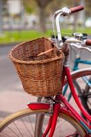 Red bicycle basket photo