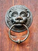 Vintage Lion doorknob on antique door, background