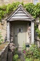 Cottage door with flowers