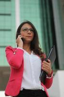 Woman annoyed by phone call - Stock Image photo