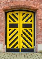 Black and yellow painted door to fort