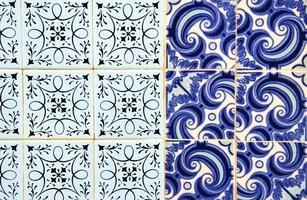 portuguese tiles (Azulejos) at a facade in Olhao, Algarve