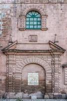 facade details of Iglesia del Triunfo  Cuzco Peru