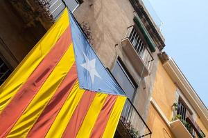 Flag of independent Catalonia hanging on facade of living house photo