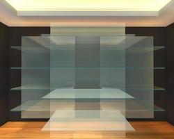 estantes de vidrio en la habitación vacía negra