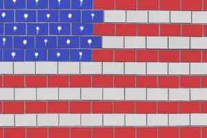 bandera americana, en, pared ladrillo foto